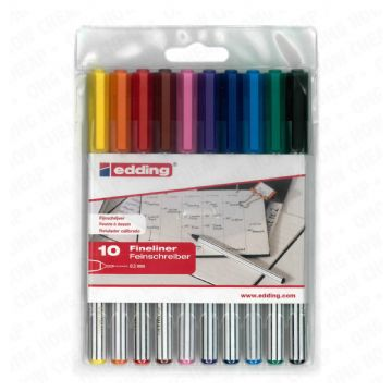 EDDING 89 FINELINER DRAWING ART PEN ASSORTED WALLET OF 10